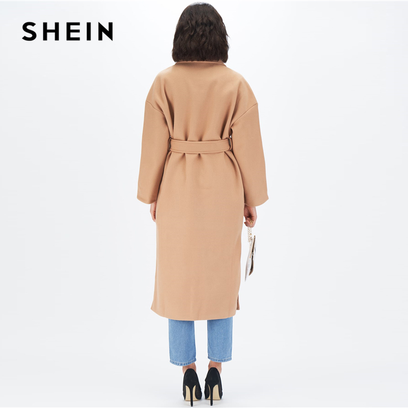 SHEIN Camel Notched Collar Split Hem Elegant Belted Trench Coat Women Autumn Solid Double Pocket Front Office Long Outerwear 2