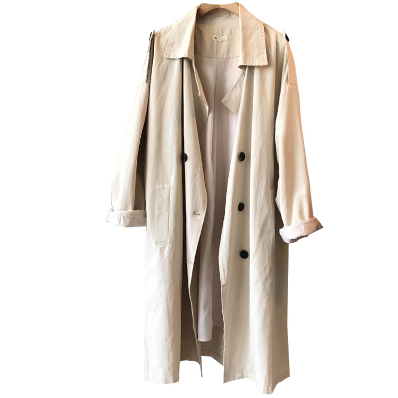 2019 Autumn Women   Trench   Coat Turn Down Collar Cotton Women Long Coat Beige Casaco Feminino Harajuku Abrigo Mujer   Trench   Femme