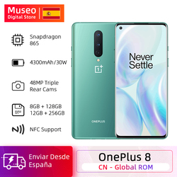 Rom global oneplus 8 5g smartphone snapdragon 865 octa núcleo 6.55 90 90 90 hz amoled tela 48mp triplo cams 4300 mah urdidura carga 30 t