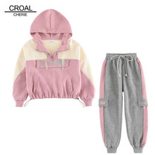 CROAL CHERIE Kids Girls Clothes Sets Pink Sport Suits SHoodies Sweatershirts + Pants Teenage Girls Children Clothing Sets
