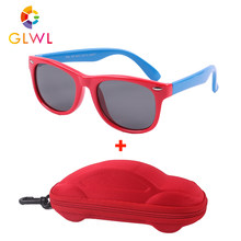 Crianças óculos de sol polarizados meninos silicone quadro óculos de sol óculos de sol do bebê das crianças com caso de carro eyewear para meninas