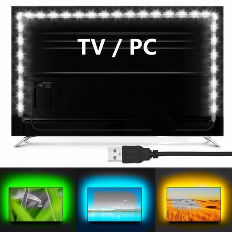 Fashion Durable LED 1M Back Lighting RGB Bar USB Light Strip 60 Lamp Beads 5V 2835 Flexible TV Non-Waterproof Set Bright