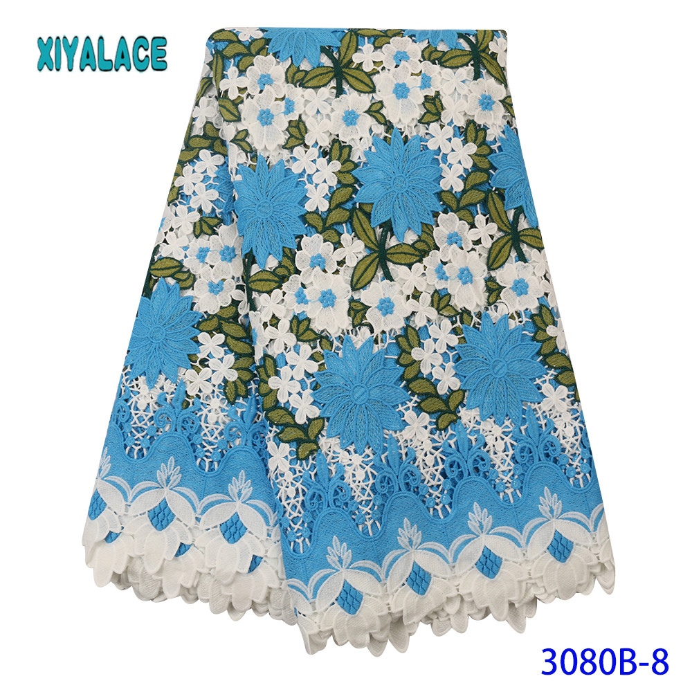 Nigerian African Lace Fabric 2019 High Quality Lace Fabric Colorful Embroidery Empty For Women Party Evening Dresses YA3080B-8