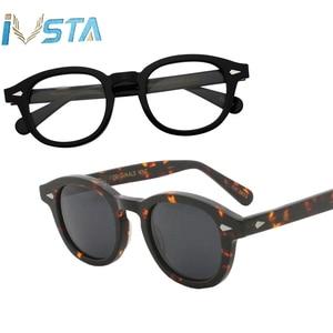 Image 5 - IVSTA Johnny Depp Gläser Männer Handgemachte Acetat Rahmen Polarisierte Sonnenbrille Runde Luxus Marke Optische Myopie Rezept Logo