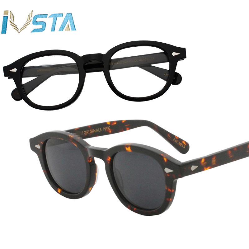 Image 5 - IVSTA Johnny Depp Glasses Men Handmade Acetate Frame Polarized Sunglasses Round Luxury Brand Optical Myopia Prescription Logo-in Men's Eyewear Frames from Apparel Accessories