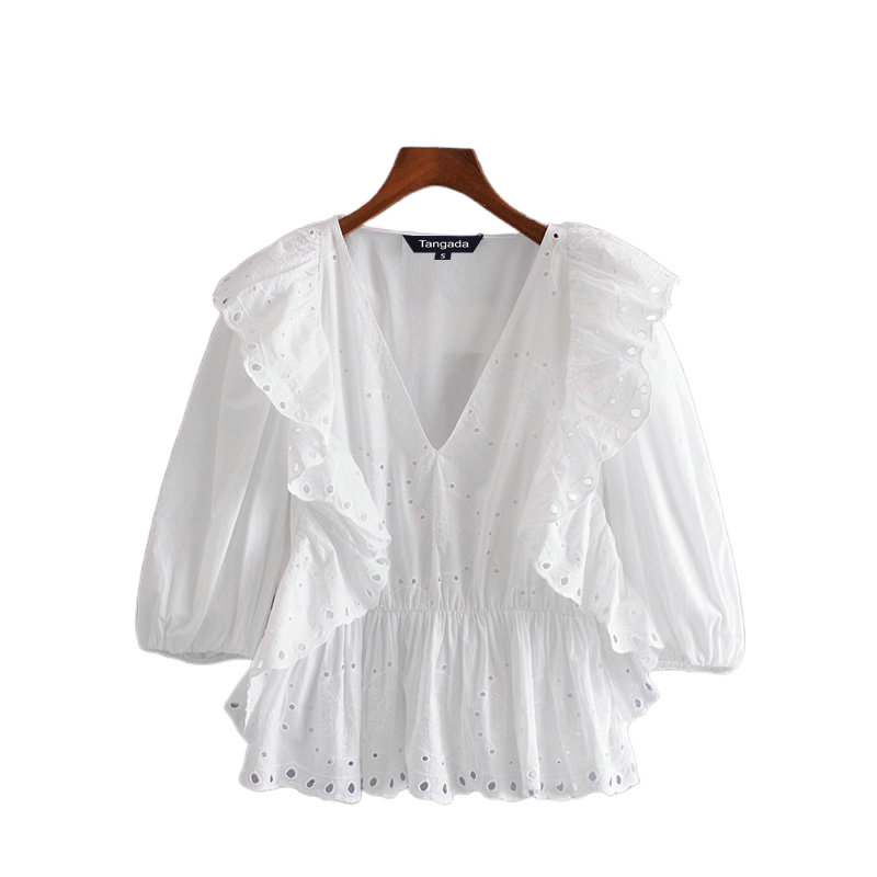 Tangada Women Ruffle White Embroidery Hole Summer Shirts Half Sleeve V-neck Elegant Ladies Blouses 3H300