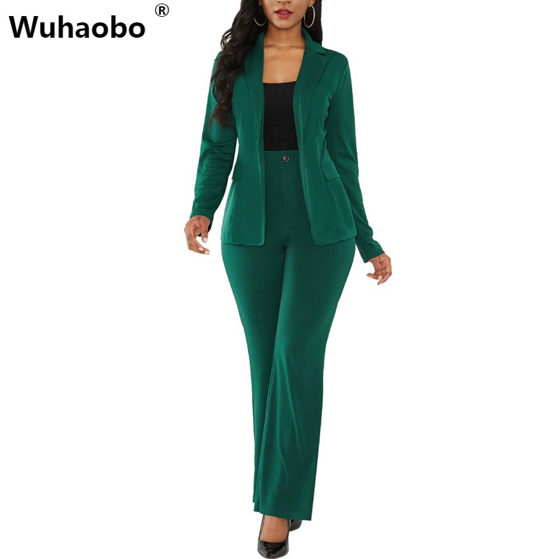 Wuhaobo Elegant Women Business Suits Solid Color Blazers Coat And Long Pants Ladies Casual Blazers Sets Office Lady Green Suit