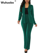 Wuhaobo Elegant Women Business Suits Solid Color Blazers Coat And Long Pants Lad