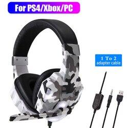 Игровая гарнитура для PS4, шумоподавляющие громкие наушники с микрофоном, наушники с глубокими басами, музыкальный шлем для ПК, компьютера, т...