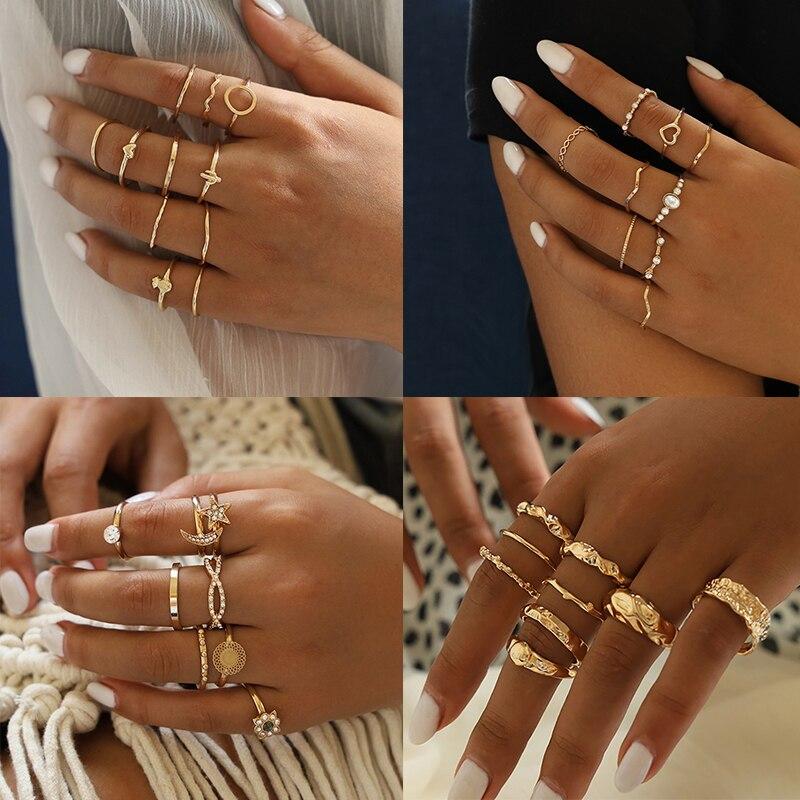 Czeski serce ananas okrągły fala Knuckle zestaw pierścieni zestaw dla kobiet w stylu Vintage złoty kolor Finger pierścionki biżuteria 2020 nowy 11 sztuk/zestaw
