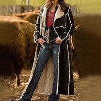 Women Suede Coat Winter Fleece Warm Gothic Jacket 2019 Fashion Long Coats Black Windbreaker Plus Size Motorcycle Overcoat 5XL