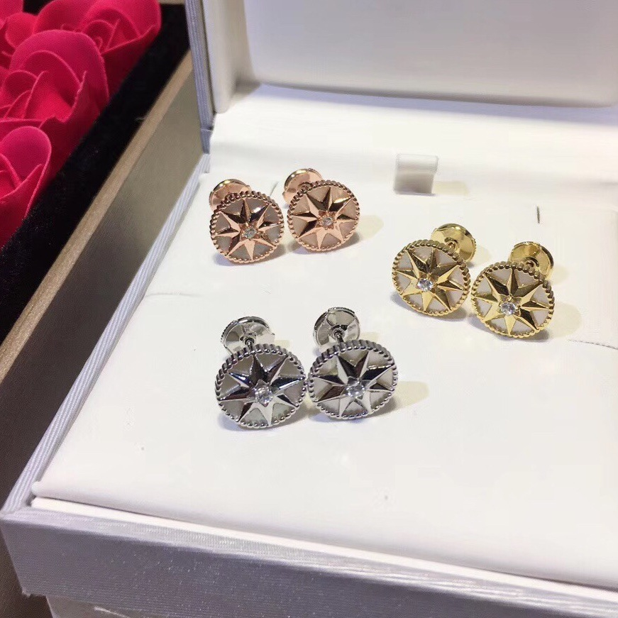Luxueux romantique boussole boucles d'oreilles étincelant huit étoiles boucle d'oreille pour femmes dames pur 925-Sterling-argent célèbre bijoux - 3