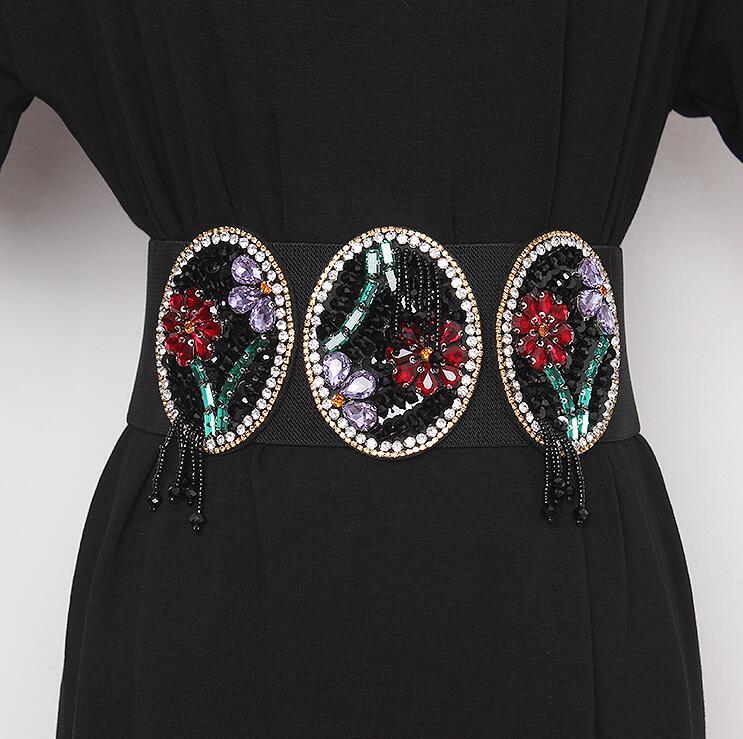 Women's Runway Fashion Blingbling Rhinestone Beaded Cummerbunds Female Dress Corsets Waistband Belts Decoration Wide Belt R2419