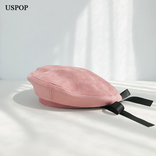 USPOP 2019 New winter hats Suede berets women hat sweet bow ribbon beret flat top warm suede casual solid color cap