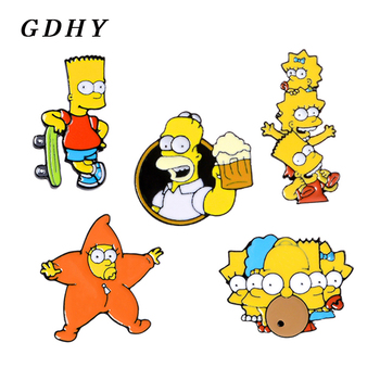 GDHY Cartoon Simpsons Enamel Pins Lisa Homer Jay Marge Kirk character nternet meme brooch cute Enamel pins For Fans Jewelry image