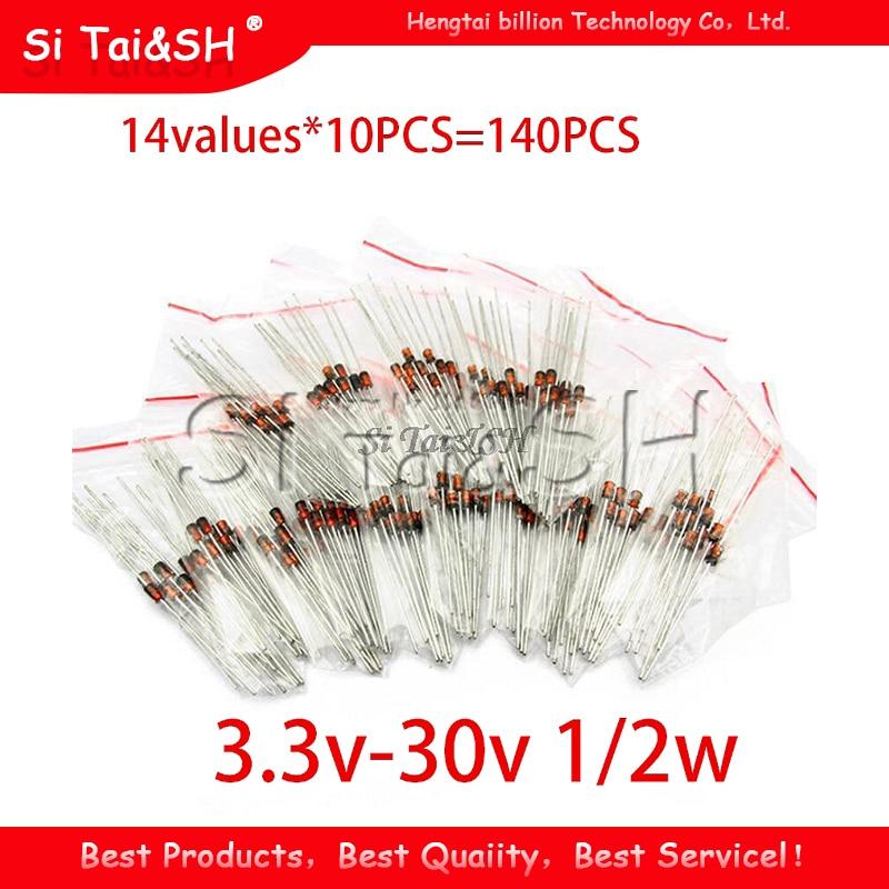 14 значений * 10 шт. = 140 шт. 0,5 Вт регулятор 3,3 В-30 в 1/2 Вт диодный компонент Зенера Ассорти набор упаковка новый и оригинальный