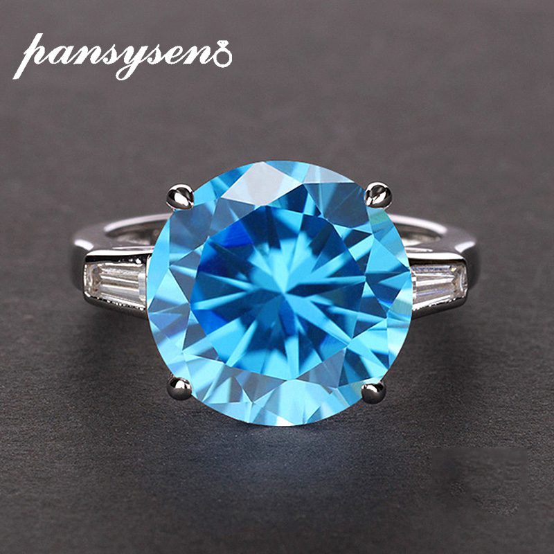 PANSYSEN Gennunie 925 Silver 12MM round aquamarine topaz gemstone wedding engagement rings for women wholesale fine jewelry ring