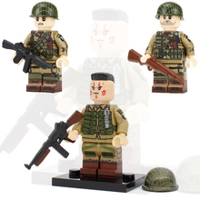 цена на NEW WW2 Military Army Soldier Figures Building Blocks US Army Soldier Paratroopers Weapon Helmet scarf Accessories Bricks Toys