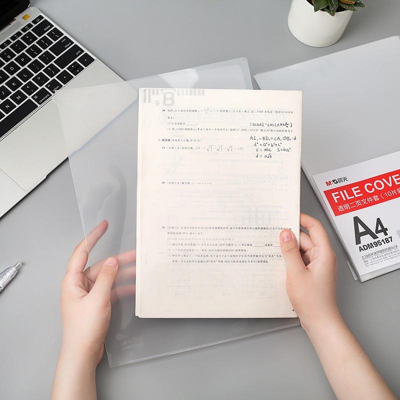 10Pcs/Lot A4 Transparent L Folder Document Pocket File Sheets Protectors Paper Keeper Office Business Use File Pouch