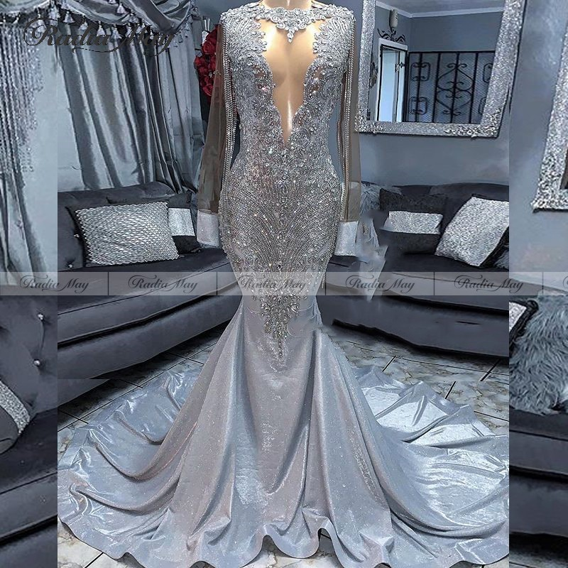 Sparkle Tassel Plus Size Mermaid Silver Prom Dresses Long Sleeves Black Girls Gala Graduation Dress African Women Formal Gowns