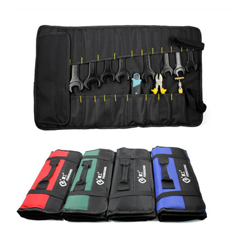 2019 Multifunction Oxford Cloth Folding Wrench Tool Bag Roll Storage Pocket Tools Pouch Instrument Case Organizer
