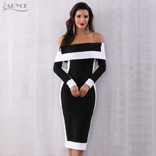 Adyce Sexy Winter Bodycon Bandage Dress Women Vestidos 2020 New Long Sleeve Off Shoulder Club Dress Celebrity Runway Party Dress
