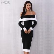Adyce 섹시한 겨울 bodycon 붕대 드레스 여성 vestidos 2020 새로운 긴 소매 어깨 클럽 드레스 오프 연예인 활주로 파티 드레스