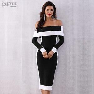 Image 1 - Adyce sexy inverno bodycon bandage vestido feminino vestidos 2020 nova manga longa fora do ombro clube vestido celebridade pista de festa