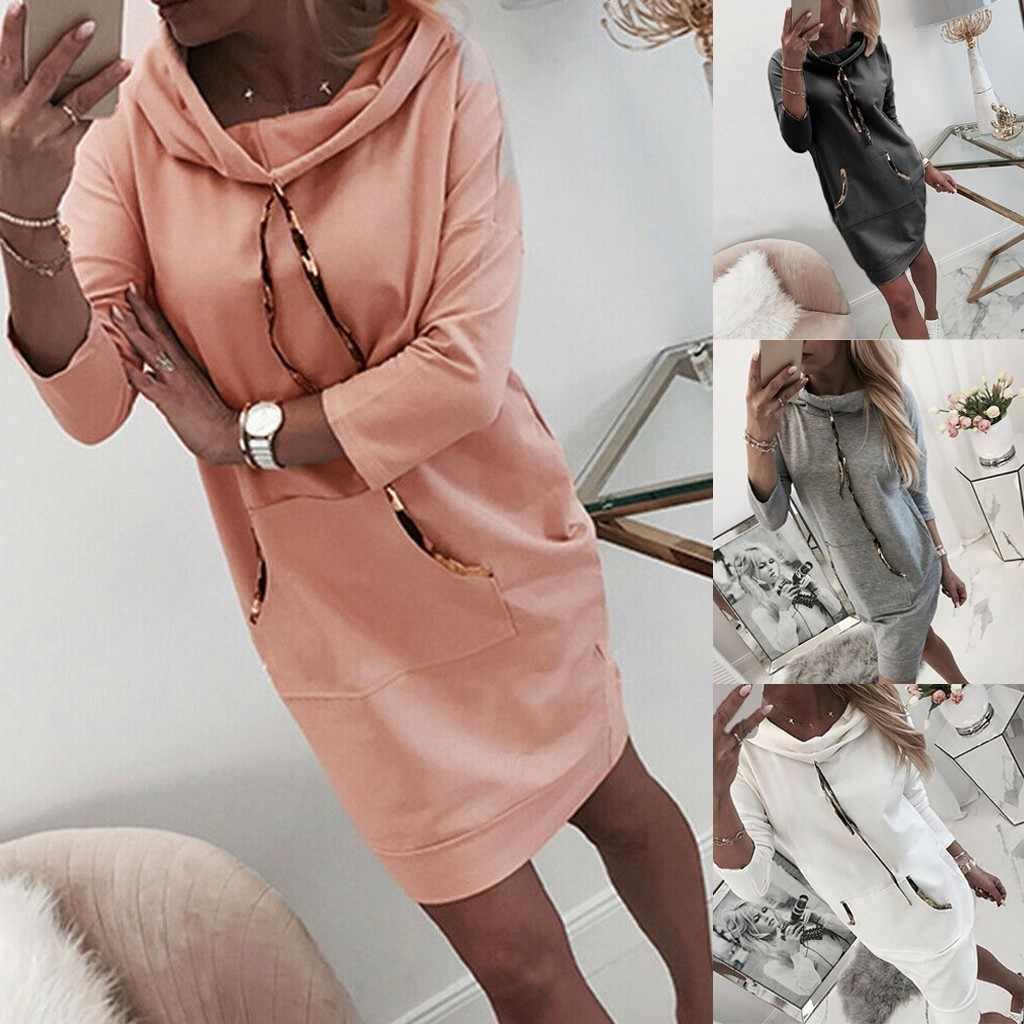 Casual otoño Jersey largo vestido de mujer de manga larga de Color sólido Jersey sudadera de gran tamaño con capucha vestido femenino C11