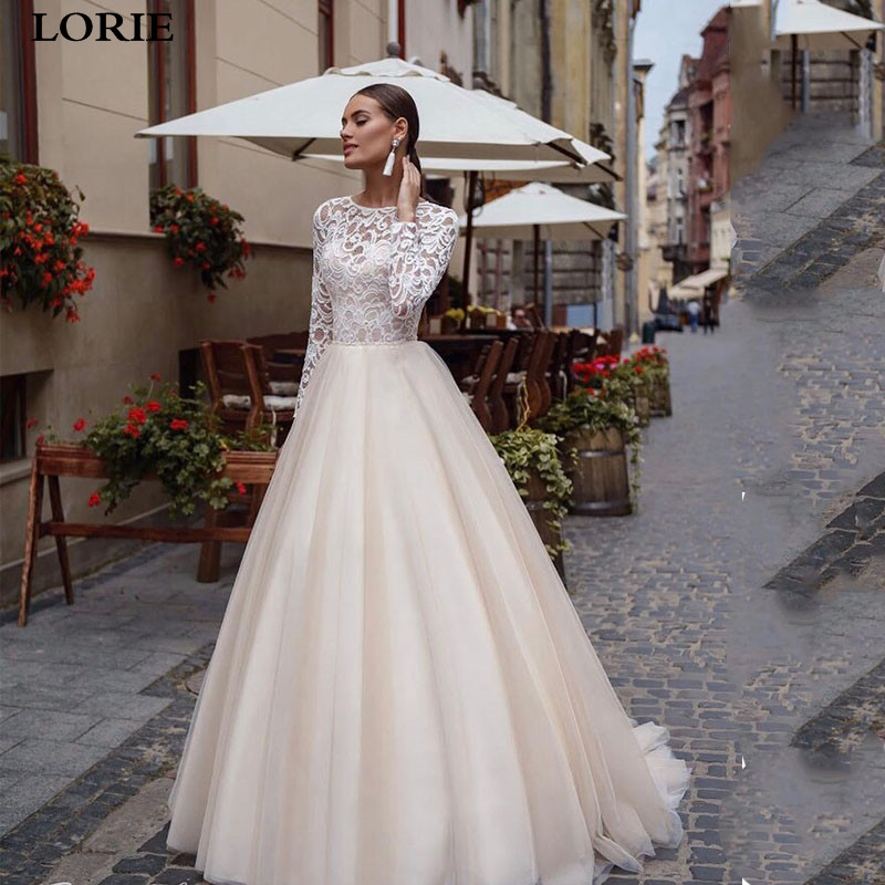 LORIE Boho Wedding Dress Long Sleeve Vestidos De Novia  A Line Bridal Dress Romantic Corset Wedding Gowns