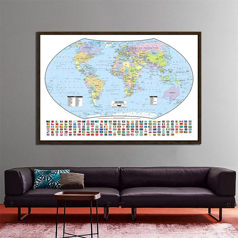 150x100cm The World Hammer Projection Map With National Flags For Culture And Education