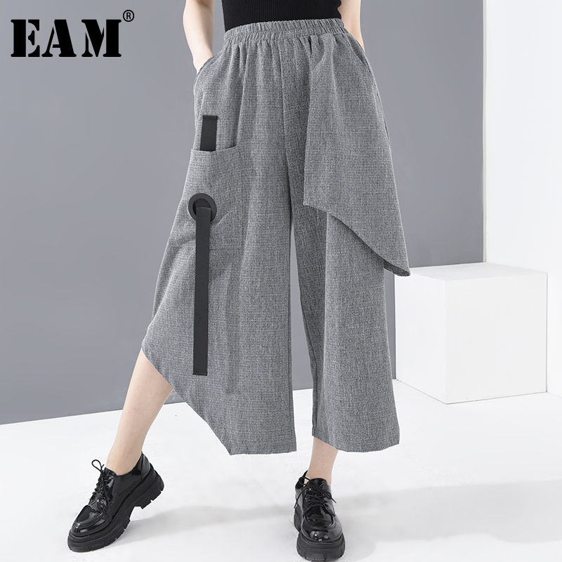 [EAM] High Elastic Waist Gray Buckle Wide Leg Trousers New Loose Fit Pants Women Fashion Tide Spring Summer 2020 1T77102