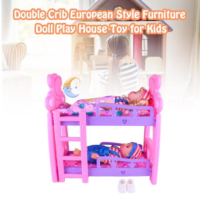 DIY Girls Toys Play House Pretend Play Furniture Toy Baby Doll Accessories Simulation Bunk Bed For Dolls Shaking Trojan Juguetes 3