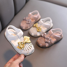 2021 summer new Korean baby hook and loop soft-soled toddler sandals fashion bow girls Baotou sandals