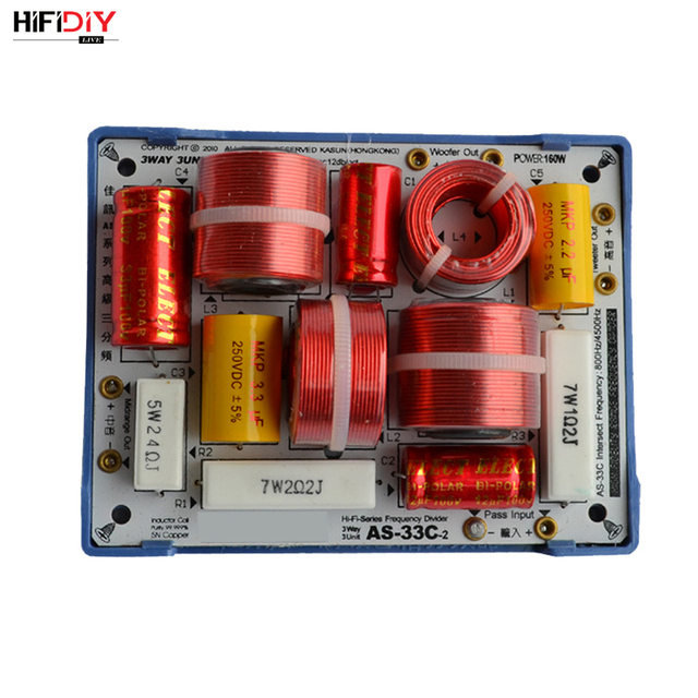 HIFIDIY LIVE  AS 33C 3 Way 3 speaker Unit (tweeter + mid +bass )HiFi Speakers audio  Frequency Divider Crossover Filters