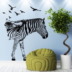 Zebra Muurstickers Verwijderbare Muur Decor Decoratieve Schilderen Leveringen & Muur Behandelingen Stickers Voor Meisjes Kids Woonkamer