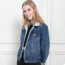 Осень Зима негабаритных женщин джинсовая куртка искусственного шерпа подкладка с длинным рукавом 100% хлопок мыть синий женский Леди Пальто