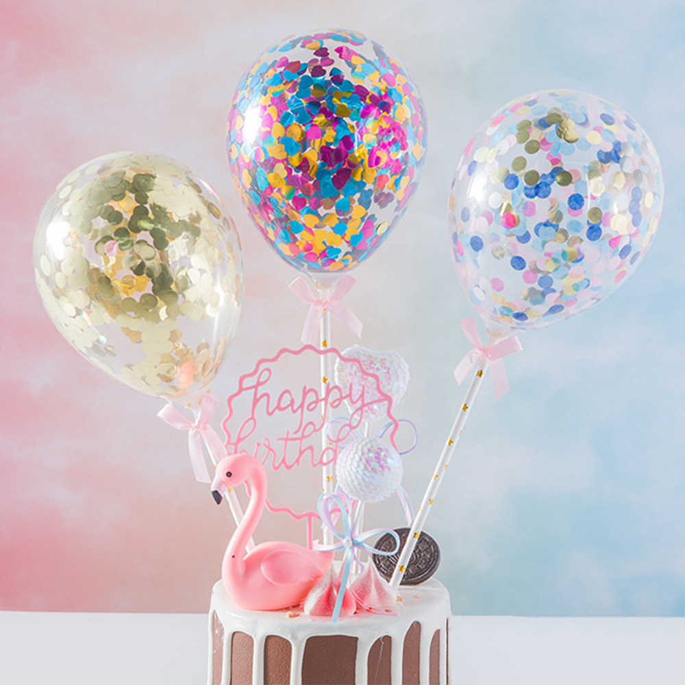 5inch Confetti Glitter Balloon Cake Toppers Mini Sequin Latex Balloon Craft For Cake Topper Birthday Cake Wedding Decoration^1