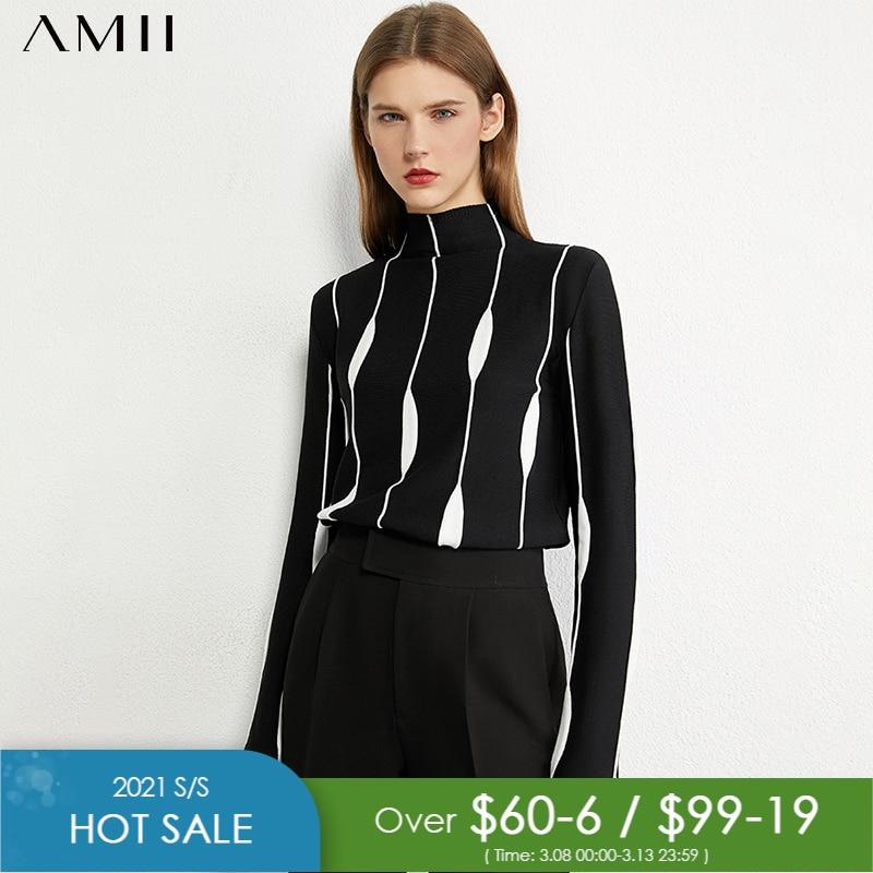 Amii Minimalismus Herbst Winter frauen Pullover Mode Kunst Jacquard Slim Fit Rollkragenpullover Kausalen Weibliche Tops 12070391
