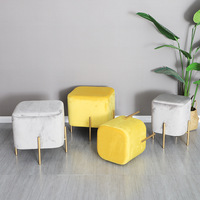 Nordic Modern Square Stool Cotton Fabric Home Furniture for Bedroom Bench Shoes Store Footstool Dining Chair Ottoman Vanity Sofa