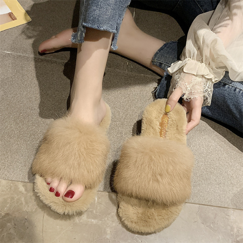 Fashion Women Furry Slippers Ladies Shoes Cute Plush Rabbit Fur Fluffy Sandals Women's Fur Slippers Winter Warm Women Slippers