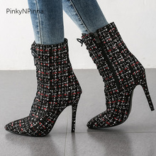 women super high heels ankle boots 11cm stiletto glitter bling flock sexy party office dress ladies winter booties short plush