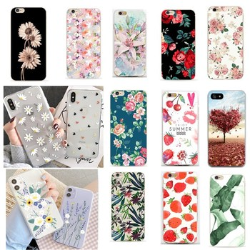 For fundas iphone 7plus cases 360 cover for iphone 7 accessories Floral Phone case for iphone x XS 6 6 s 5 5s se 2020 case image