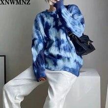 Осенне зимний базовый вязаный свитер с принтом xnwmnz za женские