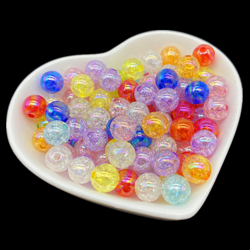 50pcs 8mm AB Color Plating Cracked Beads Spacer Beads For Jewelry Making Handmade DIY(China)