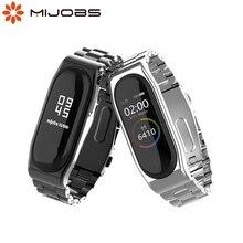 Mi Band 5 pasek globalny NFC metalowy stalowy pasek ze stali nierdzewnej dla Xiaomi Mi Band 4 bransoletka MiBand 3 pasek smartwatch na rękę nadgarstek