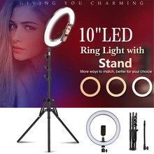 zomei 10inch selfie led ring light with stand camera studio light ring for smartphone with phone holder for live video makeup Photography LED Selfie Ring Light 10inch Dimmable Camera Phone Ring Lamp With 1.6m Stand Tripod For tik tok Video Live Studio