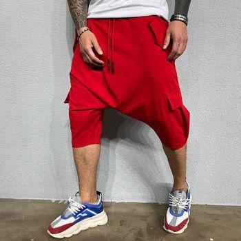 2019 mężczyzna nowa Trend hip-hopowy spodnie luźne jednolity kolor ulica męska sport i rozrywka Harlan spodnie o jednolitym kolorze tanie i dobre opinie Harem spodnie Mieszkanie COTTON Kieszenie DK-7 Na co dzień Midweight Suknem Cielę długości spodnie Sznurek