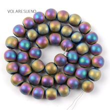 "Dull Polished Matte Multicolor Hematite Natural Round Loose Beads 15"" Strand Pick 4-10m Spacer For Bracelet Jewelry Making"
