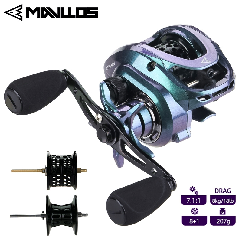 Mavllos ATHLON Baitcasting Reel BFS Ultralight Fishing Reel Left Right Hand 2 Metal Spool NMB Bearing Bait Finesse Casting Reels